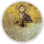 Deesis Mosaic Hagia Sophia-christ Pantocrator-judgement Day Round Beach Towel
