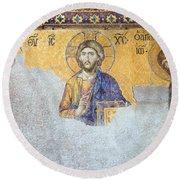Deesis Mosaic Of Jesus Christ Round Beach Towel