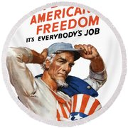Defend American Freedom It's Everybody's Job Round Beach Towel