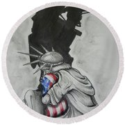 Defending Liberty Round Beach Towel