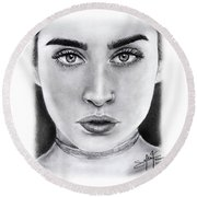 Lauren Jauregui Drawing By Sofia Furniel  Round Beach Towel