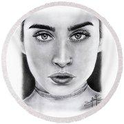 Lauren Jauregui Drawing By Sofia Furniel  Round Beach Towel by Sofia Furniel