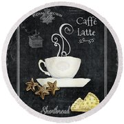 Round Beach Towel featuring the painting Deja Brew Chalkboard Coffee 2 Caffe Latte Shortbread Chocolate Cookies by Audrey Jeanne Roberts