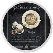 Deja Brew Chalkboard Coffee 3 Cappuccino Cupcakes Chocolate Recipe  Round Beach Towel by Audrey Jeanne Roberts