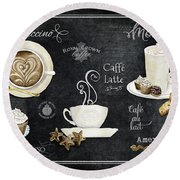 Round Beach Towel featuring the painting Deja Brew Chalkboard Coffee Cappuccino Mocha Caffe Latte by Audrey Jeanne Roberts
