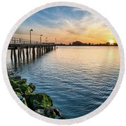 Del Norte Pier And Spring Sunset Round Beach Towel by Greg Nyquist