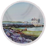 Delano's Wharf At Rock Nook Round Beach Towel