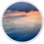 Delaware River Abstract Reflections Foggy Sunrise Nature Art Round Beach Towel
