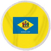 Round Beach Towel featuring the photograph Delaware State Flag by Robert Banach