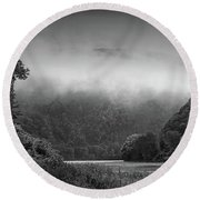 Delaware Water Gap Clouds Set In Round Beach Towel by Raymond Salani III