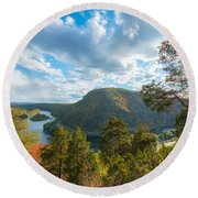 Delaware Water Gap In Autumn Round Beach Towel