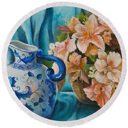 Round Beach Towel featuring the painting Delft Pitcher With Flowers by Marlene Book