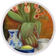 Delft Vase And Mini Tulips Round Beach Towel