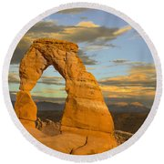 Delicate Arch At Sunset Round Beach Towel