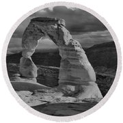 Delicate Arch Black And White Sunset Shadow Round Beach Towel
