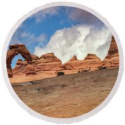 Delicate Arch From Below Round Beach Towel