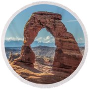 Delicate Arch In Early Morning Round Beach Towel