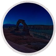 Delicate Arch In The Blue Hour Round Beach Towel