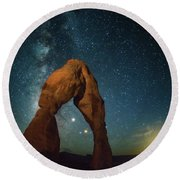 Delicate Arch Moonset Round Beach Towel