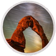 Delicate Arch Star Trails Round Beach Towel