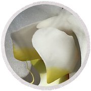 Delicate As Egg Yolk Round Beach Towel by Sherry Hallemeier