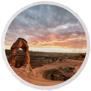 Delicate At Sunset Round Beach Towel