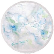Round Beach Towel featuring the painting Delicate Elegance by Monique Faella