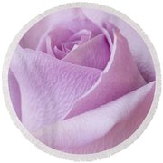 Delicate Lavender Rose Macro Round Beach Towel by Sandra Foster