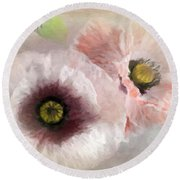 Delicate Pastel Poppies Round Beach Towel