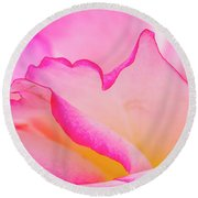 Delicate Pink And White Rose Round Beach Towel by Teri Virbickis