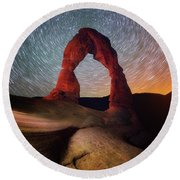 Round Beach Towel featuring the photograph Delicate Spin by Darren White