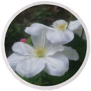 Round Beach Towel featuring the painting Delicate White Clematis Pair by Smilin Eyes  Treasures