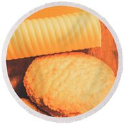 Delicious Cookies With Piece Of Butter Round Beach Towel