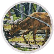 Round Beach Towel featuring the painting Delicious Greens, Yellowstone by Erin Fickert-Rowland