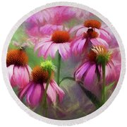 Round Beach Towel featuring the digital art Delightful Coneflowers by Diane Schuster