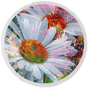 Round Beach Towel featuring the photograph Delightful Daisies by Annie Zeno