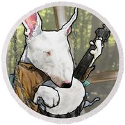 Deliverance Bull Terrier Caricature Art Print Round Beach Towel