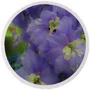 Delphinium Blues Round Beach Towel