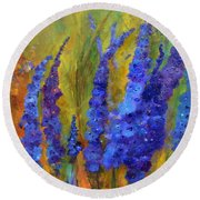Delphiniums Round Beach Towel by Claire Bull
