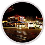 Delray Beach Railroad Crossing Round Beach Towel
