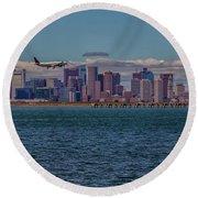 Delta Airlines Lands In Boston Round Beach Towel