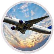 Delta Passenger Plane Round Beach Towel