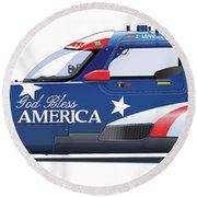 Deltawing Le Mans Racer Illustration Round Beach Towel