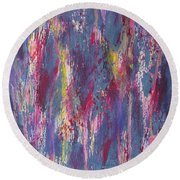 Round Beach Towel featuring the painting Delve Deep 2 by Mini Arora