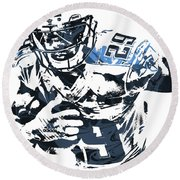 Demarco Murray Tennessee Titans Pixel Art Round Beach Towel by Joe Hamilton