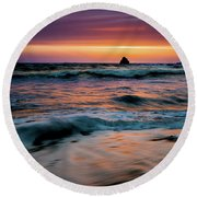 Demartin Beach Sunset Round Beach Towel