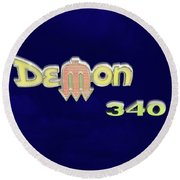 Round Beach Towel featuring the photograph Demon 340 Emblem by Mike McGlothlen