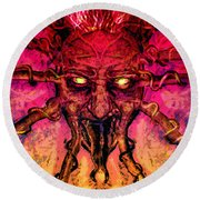 Round Beach Towel featuring the painting Demon by David Mckinney