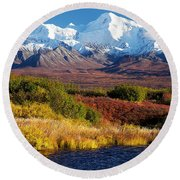 Denali Autumn Round Beach Towel