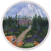 Round Beach Towel featuring the painting Denali by Jamie Frier